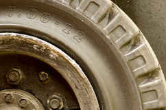 Old lorry tire, wheel close-up. Stock Photo