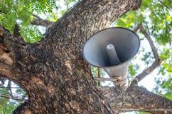 Old loudspeaker hanging on a tree Stock Image