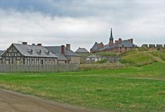Old Louisbourg. Reconstruction of the 18th century fortress of Louisbourg in Nova Scotia Royalty Free Stock Images