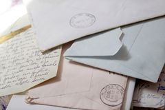Old love letters with envelopes. Old love letters written by hand on letter paper stock images