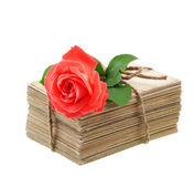 Old love letters and postcards with red rose flower Stock Photography