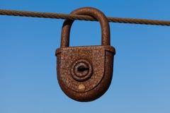 Old Love Locks on the bridge railing Stock Image