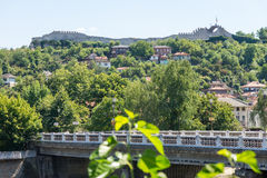 Old Lovech on a hill in front of Hissar fortress, Bulgaria royalty free stock image