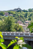 Old Lovech on a hill in front of Hissar fortress in Bulgaria stock photography