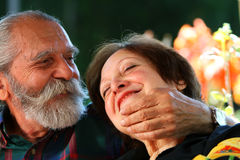 Old loving retired Couple royalty free stock photo