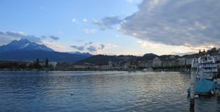 Old Lucerne city and the lake. Des Quatres-Cantons - Switzerland - Panorama Royalty Free Stock Photo