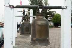 The lucky bell in Asia,Thailand. The Old lucky bell in Thailand for hit to have good luck stock photos
