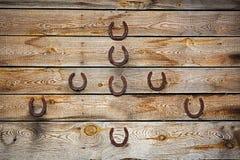 Old lucky horseshoe on grunge  background Stock Photography