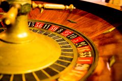 The vintage lucky roulette of that time. The old, lucky roulette of that time, when many players were earning big money or maybe not royalty free stock photography