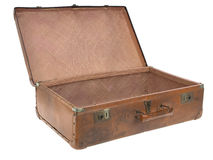 Old luggage. Concentration camp open luggage on pure white background Royalty Free Stock Images