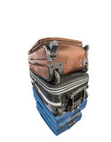Old Luggage Bags II. Sets of old luggage bags over white background stock images