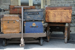 Old luggage on carts Royalty Free Stock Photography