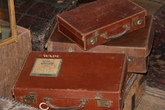 Old Luggage. Collection of old English suitcases and luggage Royalty Free Stock Photography