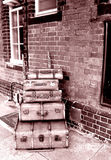 Old Luggage Railway. Old luggage cases left at railway station in North Wales, under exposed black and white, Vintage Royalty Free Stock Photos