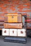 Old luggage on scales. Stock Photography