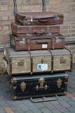 Old luggage. And suit cases at the train station Stock Photography