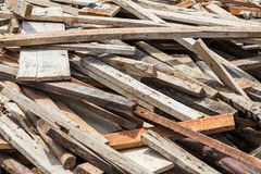 Old lumber in construction site Stock Images