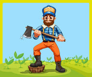 An old lumberjack holding an axe while stepping at the stump Royalty Free Stock Photo