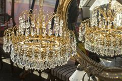 Old lustre with decorations. Old lustre decorated with glass pieces royalty free stock photo