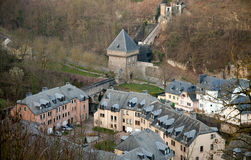 Old Luxembourg. Houses in Grund royalty free stock photo