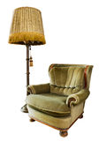 Old luxury armchair with floor lamp on white Stock Photos