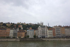 Old Lyon view with Fourviere Hill Royalty Free Stock Photo