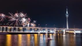 The old Macau-Taipa Bridge and Macau tower with fireworks Stock Image