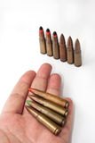 Old machine gun bullets in the hand Royalty Free Stock Images