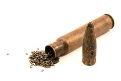 Old machine gun cartrige Stock Images