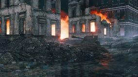 Old machine gun on destroyed after WW2 city street