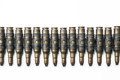 Old machine gun's bullets on white background Stock Photo