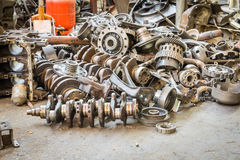 Old machine parts in second hand machinery shop Stock Photos