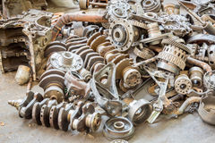 Old machine parts in second hand machinery shop Royalty Free Stock Image