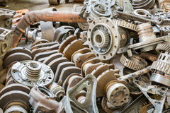 Old machine parts in second hand machinery shop Stock Photo