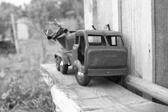 The old machine plaything toy. Old machine lorry; truck motor-car, car, motor vehicle; automobile plaything toy Stock Photos