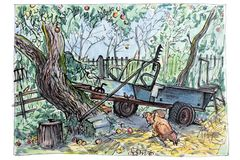 An old machine stands in the garden among the trees of the garden, hens are walking around. Garden tools. royalty free illustration