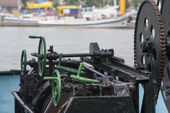 Old machinery on a fishing boat. Closeup Royalty Free Stock Photos
