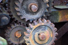 Old Machinery Gears. Close-up of old,rusty machinery gears royalty free stock photos