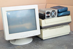 Old IT machinery for recycling. Pile of old IT equipments waiting to be recycled Royalty Free Stock Photos
