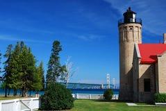 Old Mackinac Point Lighthouse. On the Straits of Mackinac, Michigan Stock Photos