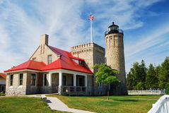 Old Mackinac Point Lighthouse. On the Straits of Mackinac, Michigan Stock Photo