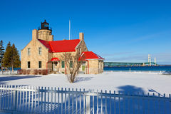 Old Mackinac Point Lighthouse in Winter - Michigan Stock Photos