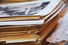Old magazines and blurred photos Royalty Free Stock Photo