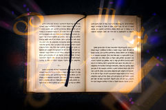 Old magic book with mysterious inscriptions royalty free stock images