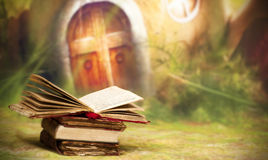 Old, magic, fairytale books Stock Images