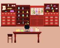 Old Magic Laboratory. With potions and a cauldron. Fantasy interior. Vector illustration Royalty Free Stock Photography