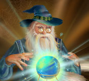 Old magician. Illustration for children Royalty Free Stock Photos