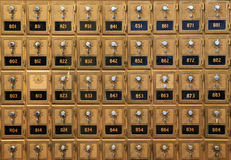 Old mail boxes. An array of old mail boxes in a post office stock images