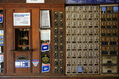 Old mail boxes in historic post office Florida USA Stock Photography