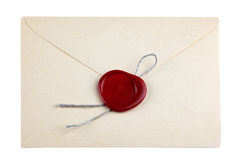 Old mail envelope with red wax seal stamps Stock Images